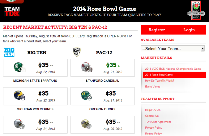TeamTix is offering a chance to secure a Rose Bowl ticket at face value if your team makes it